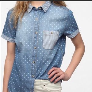 BDG Urban Outfitters Dot Chambray Button Up Small